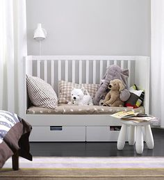 This convertible Ikea crib can transition to a toddler bed