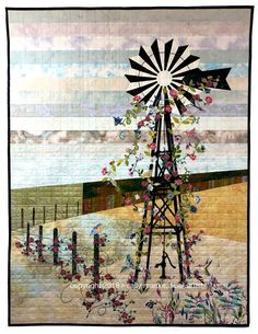 Quilt Design Wall, Design Wall For Quilting, Windmill Art, Old Windmills, Texas Quilt, Watercolor Quilt, Landscape Art Quilts, Landscapes, History Of Quilting