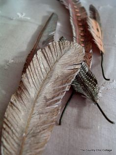 Make realistic feathers from paper!  Paper Ephemera Feathers #aleenesrocks @ilovetocreate ~ * THE COUNTRY CHIC COTTAGE (DIY, Home Decor, Crafts, Farmhouse)