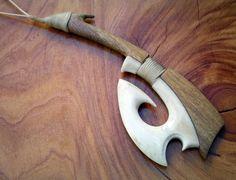 Stunning composite wood and bone Hei Matau Fishhook by carvingbone