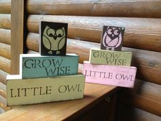 S A L E // OWL Nursery Blocks: Pink and Brown owl rustic chic bedroom decor turquoise little girls room gift owl present shower baby