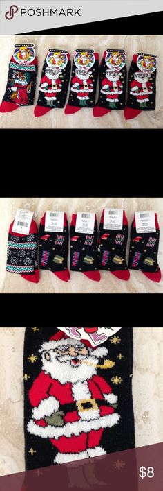 NWT 5 pairs Holiday Santa Socks,adult size 9-11 Brand new Santa socks,  5 pairs:  4 of one style , 1 of another style.  Fun for family to have matching socks or divide up for gifts or stocking stuffers.  Really cute socks, with gold sparkles.  From smoke free and pet free environment. Ben Berger Other