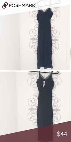 Bar III XS Black Slip Dress NWT Has the $69 pricetag on it. Black slip dress that is lined but a few inches of hem on the bottom isn't lined so the chiffon shows through. Polyester. Spaghetti straps. Lace trim at neckline. Midi length below knee.. Semi formal. Bar III Dresses Midi