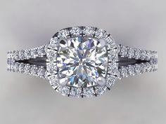 Split Shank Engagement Ring 18kt White Gold by PristineCustomRings