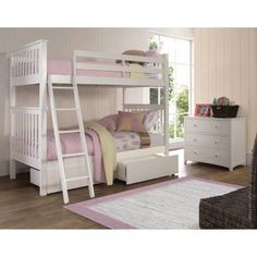 Hillsdale Furniture Barrett Bunk Bed with Storage Drawers, Multiple Sizes and Colors, White