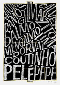 Poster for an exhibition at the AGI congress in São Paulo Shows members of the famous 1962 Santos FC team in their respective positions to celebrate the World Cup. Cool Typography, Typography Prints, Typography Letters, Typography Poster, Typography Design, Lettering, Jacky Winter, Graphic Design Posters, Book Cover Design