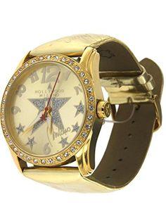Hollywood Milano Montre Femme avec caisse en acier, bracelet en cuir  brillant doré RCA HM 6edee757f9f