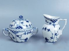 Royal Copenhagen Blue Fluted Half Laced Creamer Handled Covered Sugar Box - PC