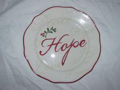 NEW! Better Homes & Gardens HOPE Holiday Sentiment Dessert Plate  #BetterHomesandGardens