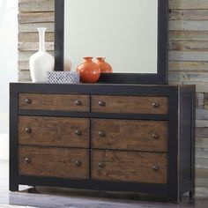 Rustic Bedroom Decor: Emerfield Dresser by Ashley Furniture at Kensington Furniture. Having so many extra drawers of storage is perfect for better bedroom organization