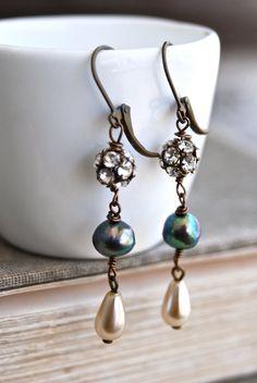 Eve. romantic grey and ivory pearl rhinestone by tiedupmemories