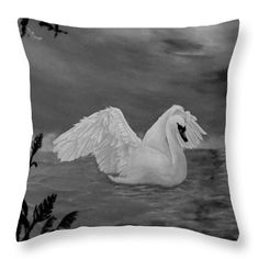 Swan Throw Pillow featuring the drawing Night Bath by Faye Anastasopoulou