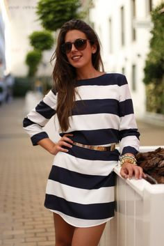 striped dress + gold belt