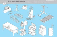 Workshop - Automobile Graphics Common items of equipment found in Auto garages. All drawn in isometric and great detail. All items by Industrial Artworks Technical Illustration, Pencil Illustration, Digital Illustration, Industrial Artwork, Car Workshop, Plumbing Tools, Illustrator Cs5, Information Design, Creative Sketches