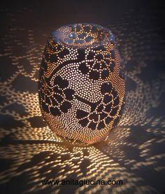 Hydrangea Table Lamp. Hand Pierced ceramic lamp. www.anitaglucina.com