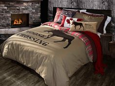 Moose Crossing bedding, very unique. The reverse is done in flannel.