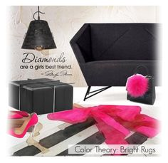 """""""Color Theory: Bright Rugs /3"""" by ansev ❤ liked on Polyvore featuring interior, interiors, interior design, home, home decor, interior decorating, Christian Louboutin and Les Petits Joueurs"""