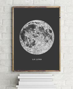 Moon Art Print. Printable Poster - PRINTABLE FILE. Astronomy Art Poster La Lune Moon - Vintage Luna Print. Bohemian Bedroom Decor. Dorm Room Wall Art.