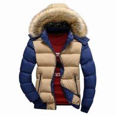 Mens Thicken Warm Coat Color Splicing Detachable Hooded Jacket