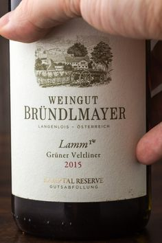 """The other strong contender for the title of the best Grüner Veltliner wine: Winery Bründelmayer """"Lamm"""". 2015 was an exceptional year. Strong, Bottle, Drinks, Wine, Drinking, Beverages, Flask, Drink, Beverage"""