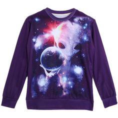 Choies Choies 3D Unisex Galaxy ET Print Sweatshirt (£13) ❤ liked on Polyvore featuring tops, hoodies, sweatshirts, shirts, sweaters, multi, pattern shirt, print shirts, purple top and patterned sweatshirt