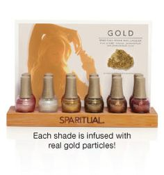 GOLD - nail varnishes with real gold particles. SpaRitual nail lacquers are all vegan, free from DBP, formaldehyde anad toluene and are not tested on animals. http://www.sparitual.com/nail_lacquers/gold/index.php