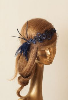 BIRDCAGE VEIL. Navy Blue Veil .Vintage Wedding Headpiece by ancoraboutique, $119.00