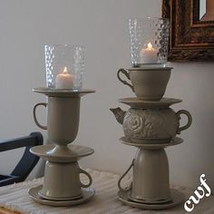 thrift tea cups/tea pots to candle holders. Teacup Candles, Diy Candles, Pillar Candles, Diy Candle Holders, Candlestick Holders, Tile Murals, Crafty Craft, Crafting, Shabby