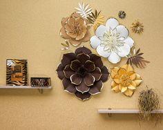 Telón de fondo de flores gigantes de papel juego de 4 único