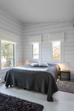 Photo 3 of 15 in These Log Cabin Kit Homes From Finland Are Surprisingly Sleek. Browse inspirational photos of modern bedrooms.