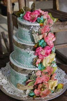 What a beautiful stacked cake created with the Botanica, Textured and other Petaloo flowers!  We would like to thank the Marion Smith DT and Peggy Lee Baker for this beautiful creation!