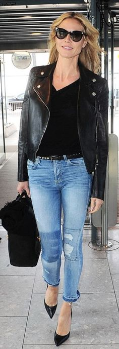 Who made  Heidi Klum's leather jacket, handbag, patent pumps, and blue skinny jeans?