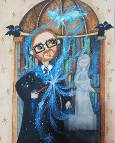 Harry Potter inspired watercolor potrait painting. #harrypotter #watercolor #watercolorarts #portrait Potrait Painting, Watercolor Portraits, Watercolor Paintings, Fox Patronus, Ravenclaw, Hogwarts, Harry Potter, Inspired, Inspiration