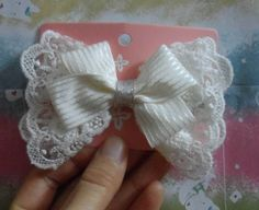 #Graceful white stripe ribbon and white by LoveMeLoveYourself, #hair accessory