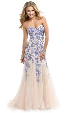 Nude purple flower lace prom dress 2014