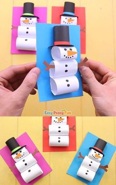 Schneemann basteln Making snowmen out in the snow is the best, but if there is no snow outside (or if it's just too cold) – our tutorial will teach you how to make a paper snowman craft that is just as fun. Christmas Games For Kids, Preschool Christmas, Winter Crafts For Kids, Christmas Activities, Christmas Fun, Art For Kids, Kids Fun, Christmas Cards, Spring Crafts