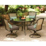"""Aqua Glass 5-Piece Patio Dining Set, Seats 4. FREE DELIVERY $701.82. Tabletop with scratch-resistant tempered glass. Umbrella hole in table. Durable steel frame. Table: 42"""" diameter x 28.5""""H Swivel chairs: 30.25"""" x 29.25""""W x 36.25""""H  Buy now  http://goodsarbitrage.ca/index.php?page=shop.product_details&flypage=shop.flypage&product_id=1211998&category_id=418604&manufacturer_id=0&sku=-1726750628&option=com_virtuemart&Itemid=1"""