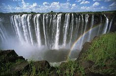 Victoria Falls are a waterfall on the Zambezi River in Africa at the border of Zambia and Zimbabwe.
