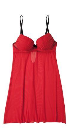 Shake & be sexy pour la nuit avec cette nuisette rouge transparente et soutien gorge push