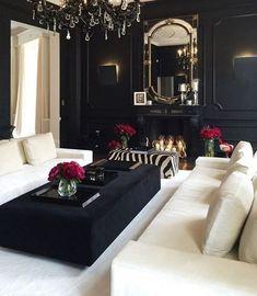 Black/White decor black and white living room decor, black living room Glam Living Room, Design Living Room, Home And Living, Glam Bedroom, Cozy Living, Modern Living, Living Area, Gothic Living Rooms, Living Spaces