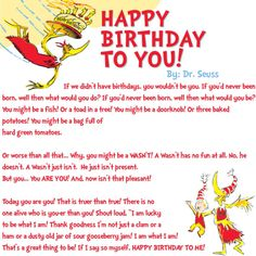 happy birthday to you dr seuss