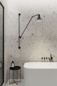 Terrazzo tiles used in bathroom renovation showing classical comeback that bring an artistic retro statement in your home Image 50 - SHAIROOM. Black Bathroom Taps, Simple Bathroom, Modern Bathroom, Master Bathroom, Bathroom Wall, Black Bathrooms, Modern Wall, Luxury Bathrooms, Bathroom Ideas White