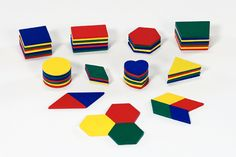 Math is shaping up to be a ton of fun!  64 Red, yellow, green and blue circles, squares, trapezoids, hexagons, rectangles, diamonds, triangles, and hearts.   High-quality, beautiful wooden shapes that children love to tesselate and play with.  Children use these shapes to learn about sets, angles, and many other important math concepts.