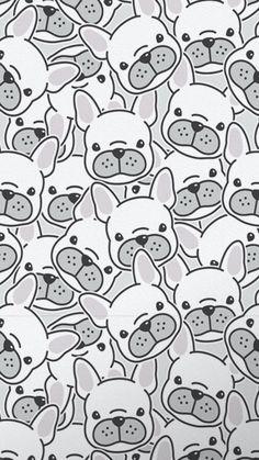 French Bulldog Cartoon, French Bulldog Art, French Bulldog Puppies, Cute Backgrounds, Cute Wallpapers, French Bulldog Wallpaper, Cãezinhos Bulldog, Drawing School, Cute Dog Photos