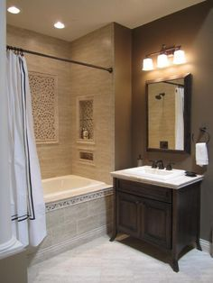 Bathroom remodel - Kirsty Froelich: The Tile Shop - Kirsty Froelich - Ceramic Bathroom - natural stone mosaic accents Bathroom Tub Shower, Bathroom Renos, Small Bathroom, Bathroom Ideas, Master Bathroom, Small Tub, Bathroom Designs, Taupe Bathroom, Bathtub Shower Combo