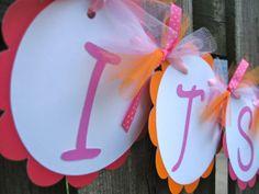 Baby Shower Banner  It's A Girl Owl Theme  Bright by ElegantEvee, $19.00