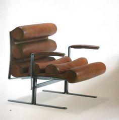 Joe Colombo; Chromed Steel and Leather 'Roll' Armchair, 1962.