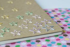 X Large notebook - Star burst hand embroidered moleskine (plain) and mini bookmark Paper Clips Diy, Diy And Crafts, Arts And Crafts, Moleskine Notebook, Cross Stitch Cards, Paper Embroidery, Notebook Covers, Bookbinding, String Art
