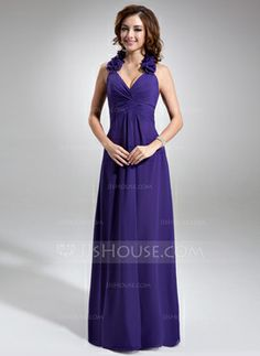 A-Line/Princess Halter Floor-Length Chiffon Bridesmaid Dress With Ruffle Flower(s) (007016740) - JJsHouse