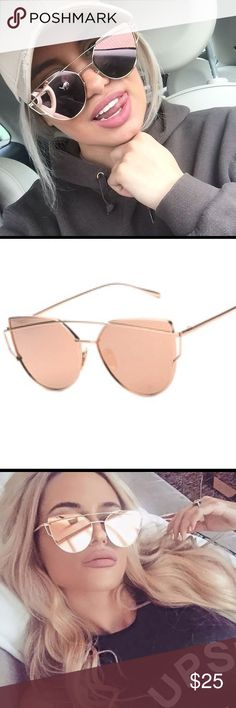 ⚡️New ⚡️ ROSE GOLD FASHION SUNGLASSES.  AVIATORS Mirrored cat eye sunglasses. Height of lens 50mm.   So gorgeous on . Accessories Sunglasses